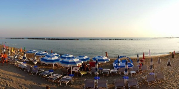 Parasols and lounges in Agnone Cilento